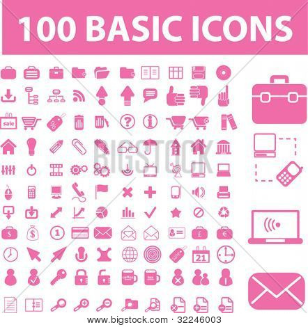 100 basic pink icons. vector
