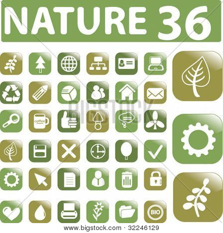 36 general nature buttons. vector