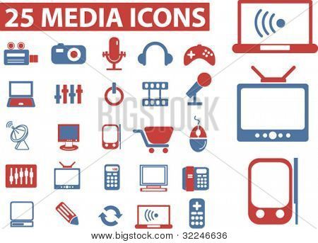25 media icons. vector