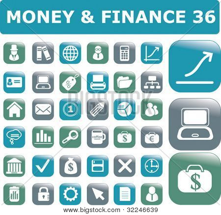 36 money & finance buttons. vector