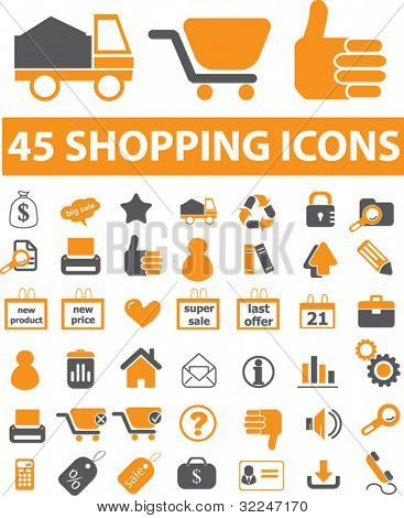 45 shopping icons. vector
