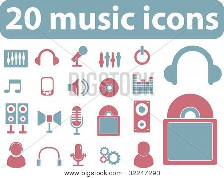 20 music icons. vector