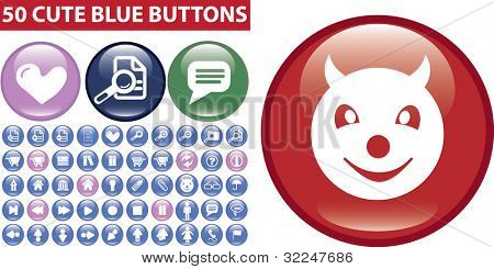 50 cute blue buttons. vector