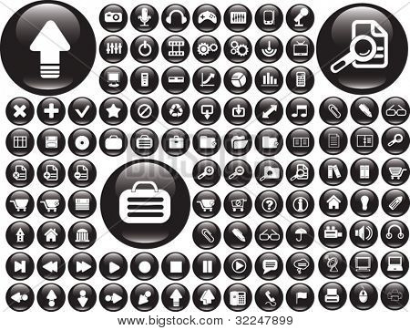 100 black buttons. vector