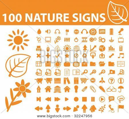 100 nature signs. vector