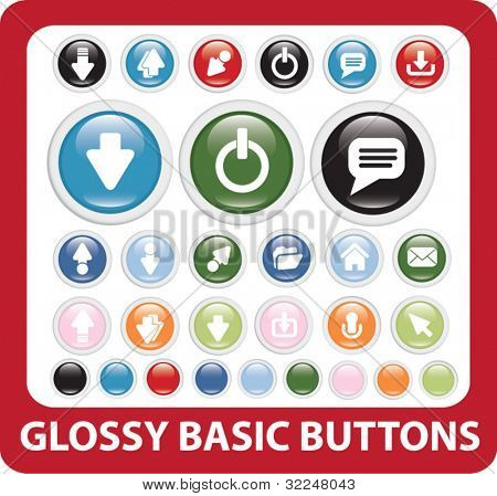 glossy basic buttons. vector