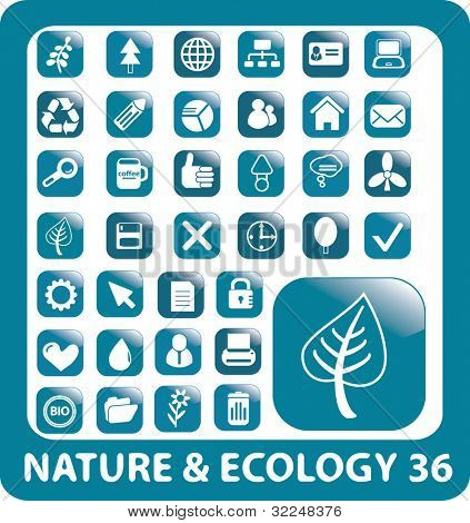 36 nature buttons. vector