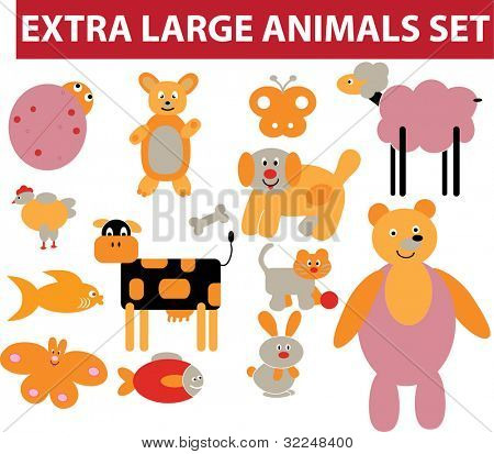 extra large animals set. vector