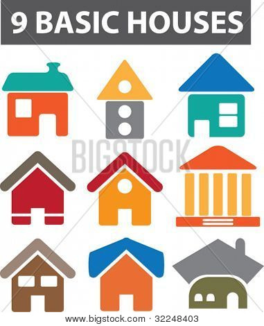 9 basic houses. vector