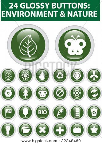 24 nature glossy buttons. vector