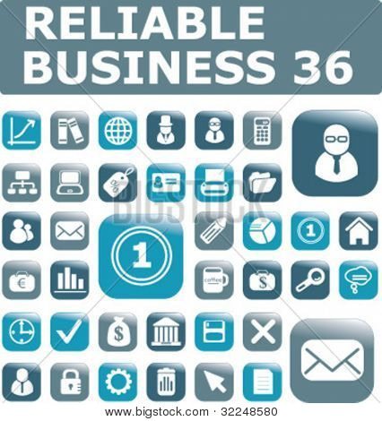 36 reliable business buttons. vector