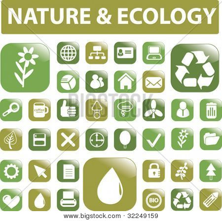 nature & ecology buttons. vector