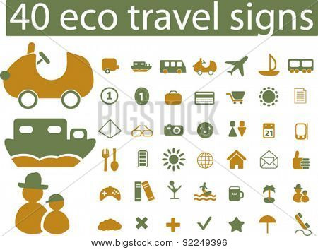 40 eco travel signs. vector