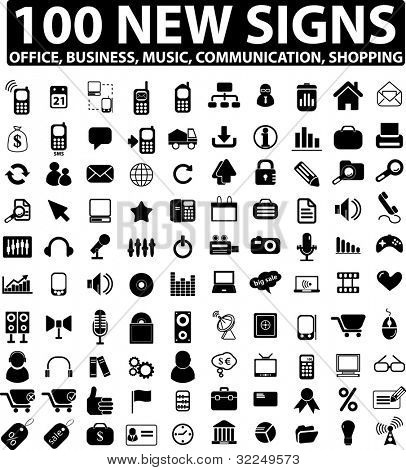 100 new signs: business & office & media. vector