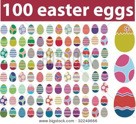100 huevos de Pascua. Vector