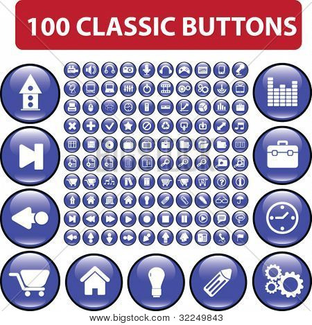 100 classic buttons. vector