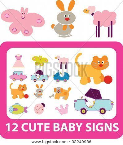 12 cute baby signs. vector