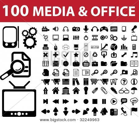 100 media & office signs. vector