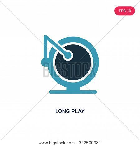 poster of long play icon in two color design style.