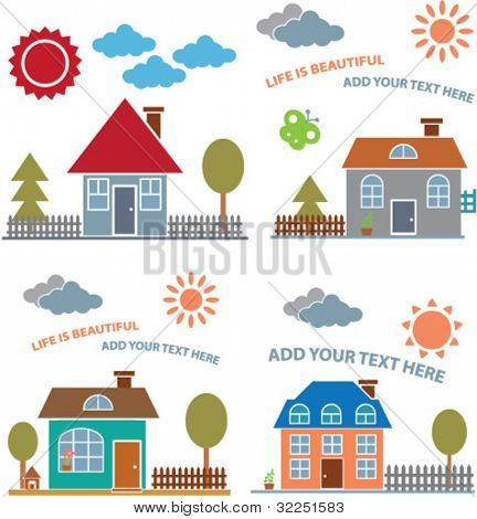 cute family houses cards. vector