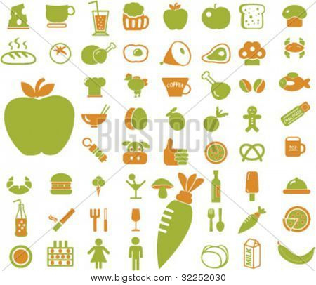 50 eco food & drink signs. vector