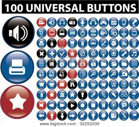 100 universal glossy buttons. vector