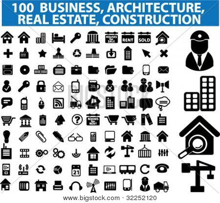 100 architecture, real estate, construction business signs. vector