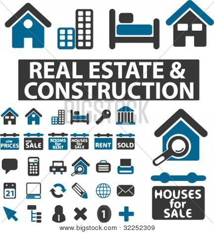 30 construction & real estate signs. vector