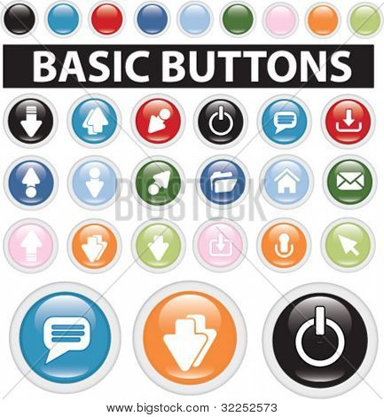 20 basic glossy buttons. vector