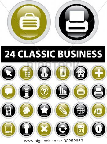 24 classic business glossy buttons. vector