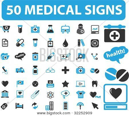 50 medical health care signs. vector