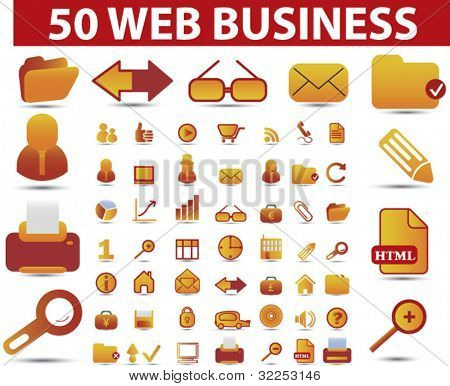 50 web business signs. vector