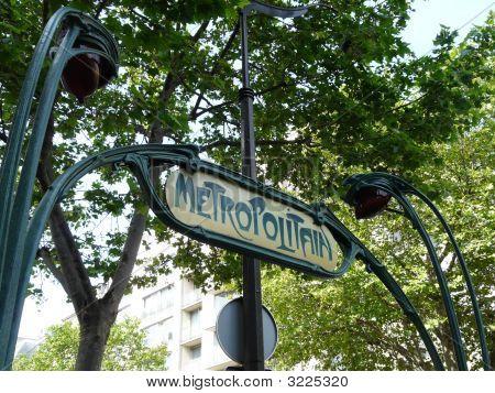 Art Deco Metro Sign In Paris