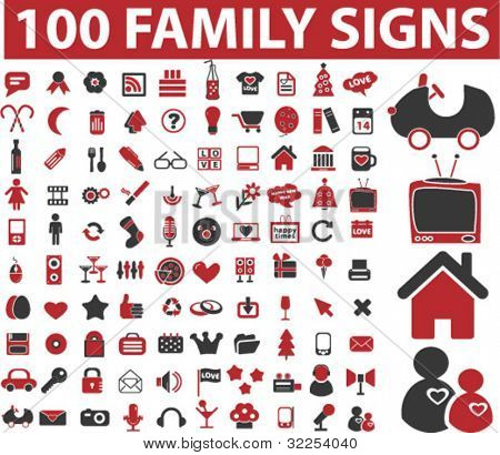 100 family signs. vector