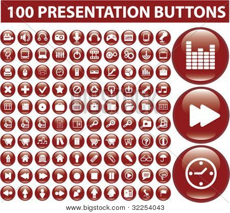 100 presentation buttons. vector