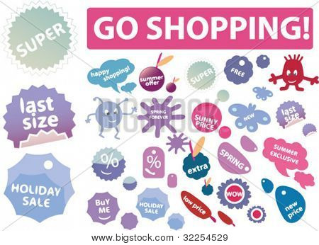 mega cool shopping labels & stickers. vector