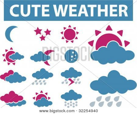 cute weather signs. vector