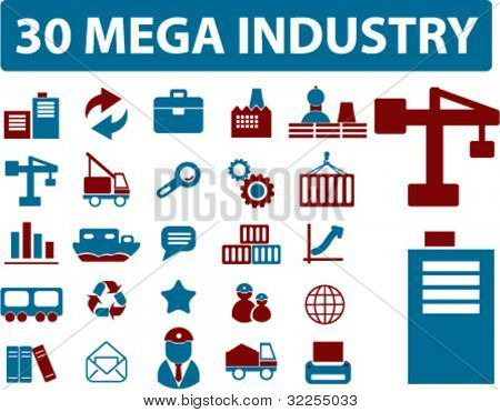 30 mega industry signs. vector