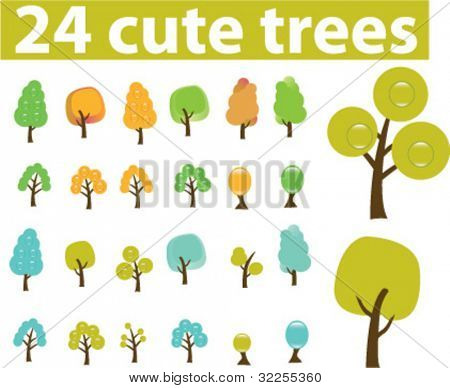 24 cute season trees. vector