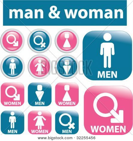 man & woman glossy signs. vector