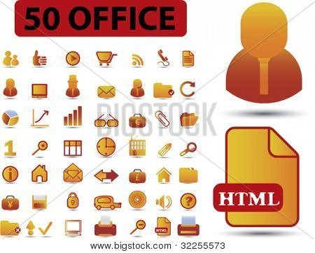 50 pro office signs. vector