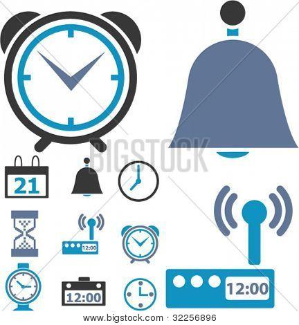 9 indicaciones de tiempo & reloj. Vector