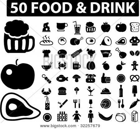 50 food & drink signs. vector