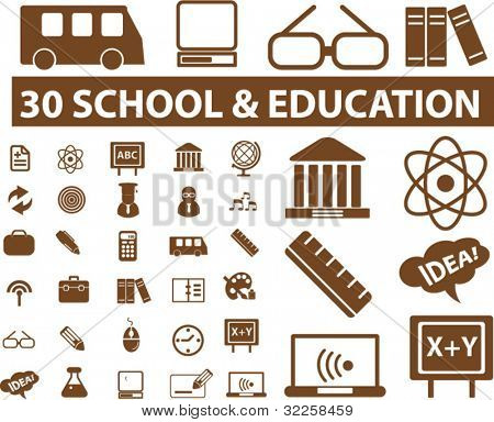 30 school & education signs. vector