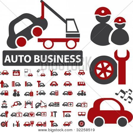 auto business signs - large set. vector