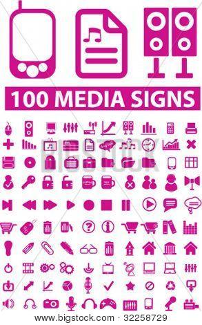 100 media & computer signs. vector
