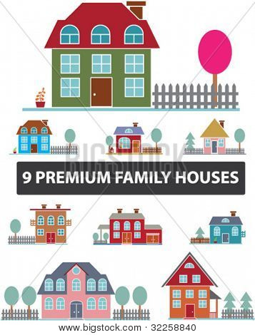 9 premium family houses. vector