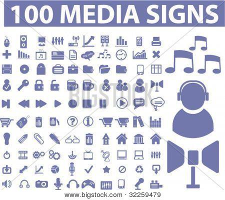 100 Medien Zeichen. Vektor