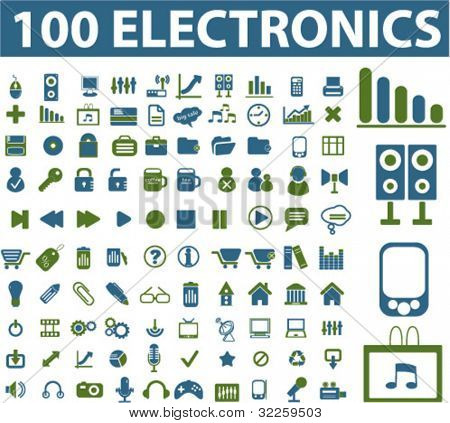 100 electronics signs. vector