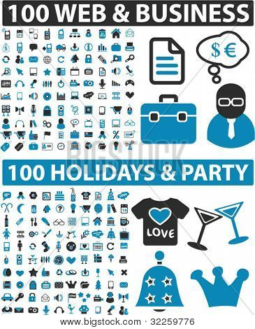 200 vector signs - web & business & holidays & party. vector